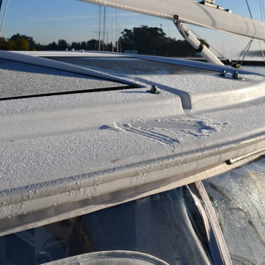 Frost on top of the boat