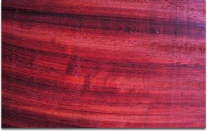 vibrant red hue of the wood