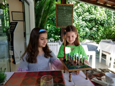 The girls loved playing this game at the table - any insight into what it's called is greatly appreciated!